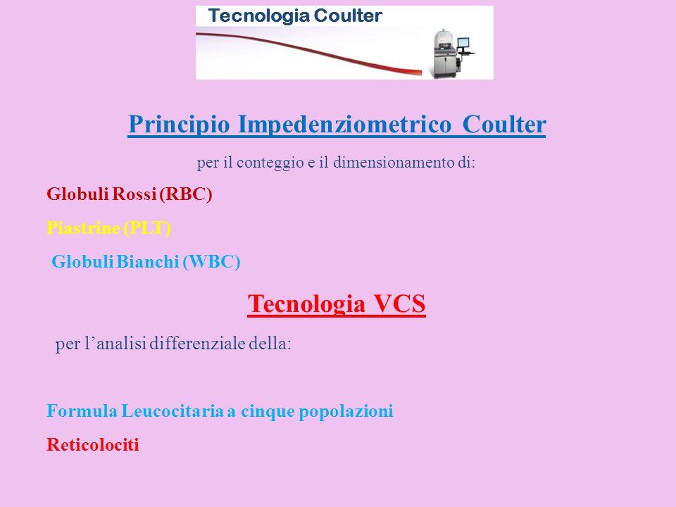 Principio Impedenziometrico Coulter per il conteggio e il dimensionamento di: Globuli Rossi (RBC) Piastrine (PLT) Globuli Bianchi (WBC) Tecnologia VCS