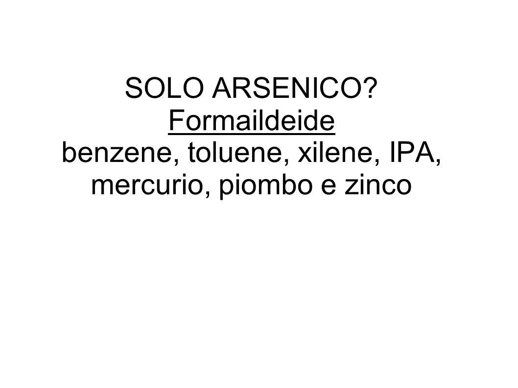SOLO ARSENICO Formaildeide benzene, toluene, xilene, IPA, mercurio, piombo e zinco