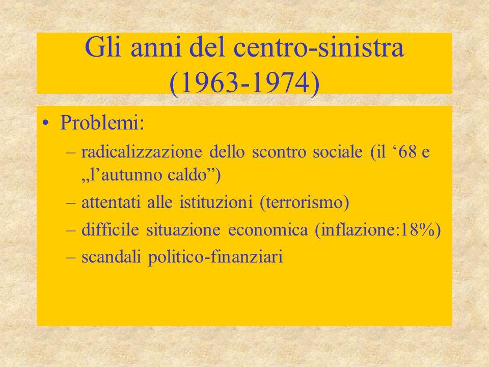 """Gli anni del centro-sinistra (1963-1974) Problemi: –radicalizzazione dello scontro sociale (il '68 e """"l'autunno caldo ) –attentati alle istituzioni (terrorismo) –difficile situazione economica (inflazione:18%) –scandali politico-finanziari"""