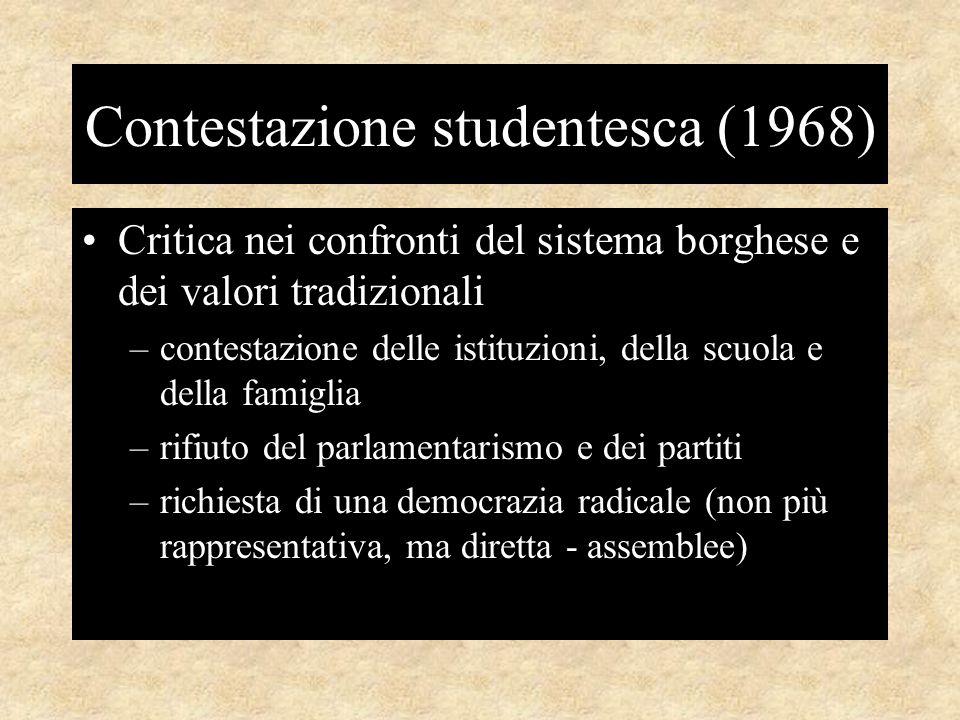Contestazione studentesca (1968) Critica nei confronti del sistema borghese e dei valori tradizionali –contestazione delle istituzioni, della scuola e della famiglia –rifiuto del parlamentarismo e dei partiti –richiesta di una democrazia radicale (non più rappresentativa, ma diretta - assemblee)