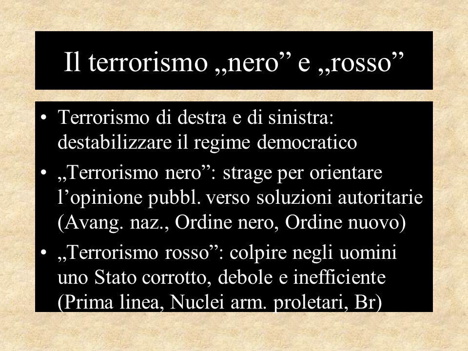 """Il terrorismo """"nero e """"rosso Terrorismo di destra e di sinistra: destabilizzare il regime democratico """"Terrorismo nero : strage per orientare l'opinione pubbl."""