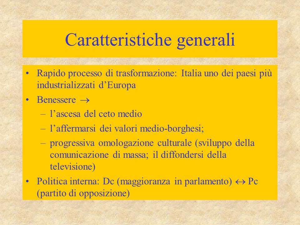 Caratteristiche generali Rapido processo di trasformazione: Italia uno dei paesi più industrializzati d'Europa Benessere  –l'ascesa del ceto medio –l'affermarsi dei valori medio-borghesi; –progressiva omologazione culturale (sviluppo della comunicazione di massa; il diffondersi della televisione) Politica interna: Dc (maggioranza in parlamento)  Pc (partito di opposizione)