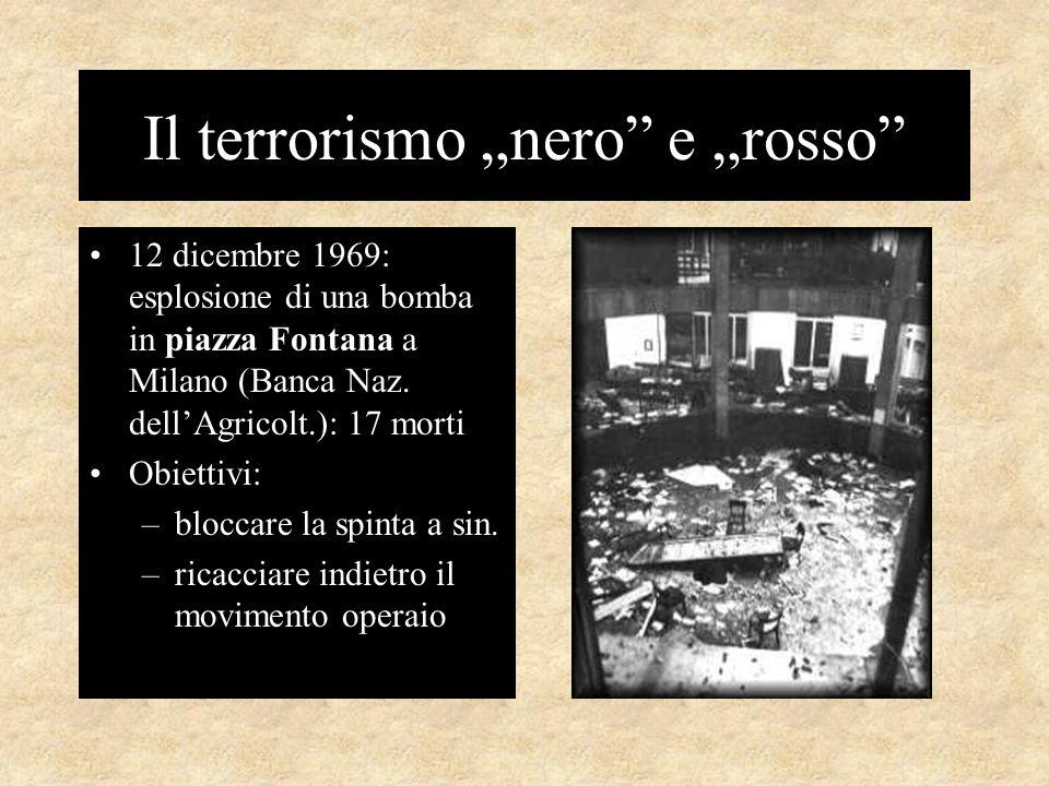 """Il terrorismo """"nero e """"rosso 12 dicembre 1969: esplosione di una bomba in piazza Fontana a Milano (Banca Naz."""