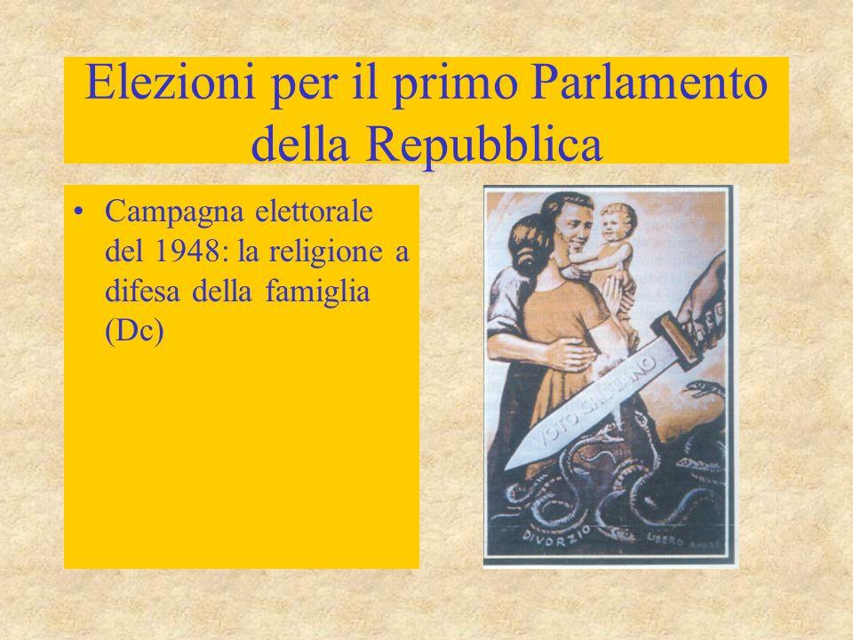 Elezioni per il primo Parlamento della Repubblica Primo ministro: Alcide De Gasperi Governo di coalizione: alleanza quadripartita –DC –liberali –socialdemocratici –repubblicani