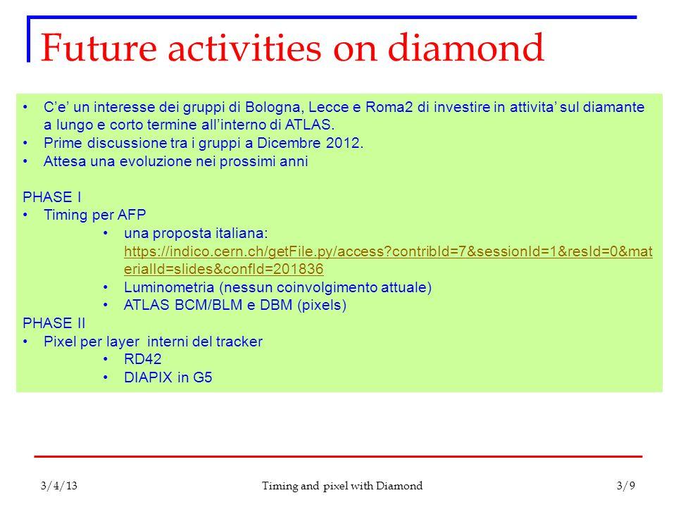 Future activities on diamond Timing and pixel with Diamond C'e' un interesse dei gruppi di Bologna, Lecce e Roma2 di investire in attivita' sul diaman