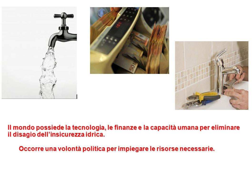 Il mondo possiede la tecnologia, le finanze e la capacità umana per eliminare il disagio dell'insicurezza idrica.