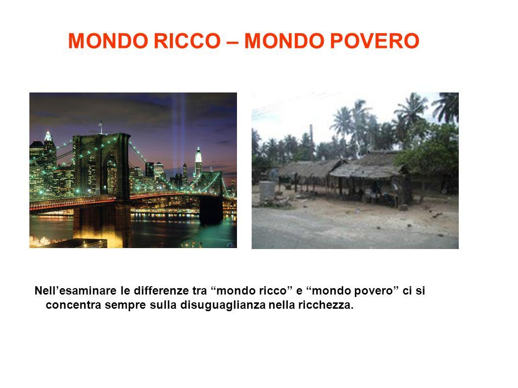 """Nell'esaminare le differenze tra """"mondo ricco"""" e """"mondo povero"""" ci si concentra sempre sulla disuguaglianza nella ricchezza. MONDO RICCO – MONDO POVER"""