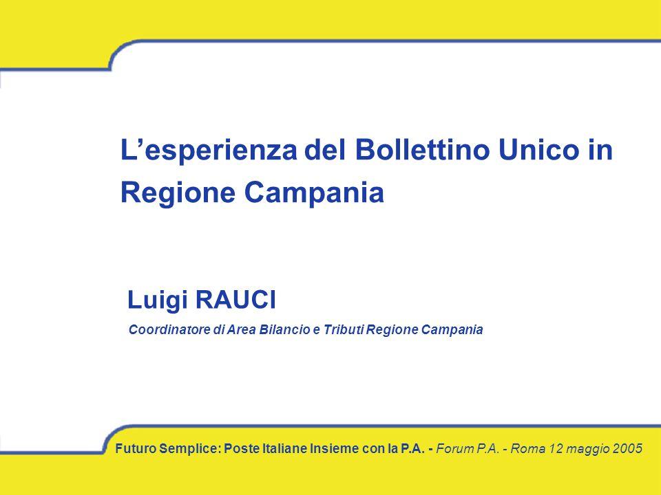 L'esperienza del Bollettino Unico in Regione Campania Futuro Semplice: Poste Italiane Insieme con la P.A.