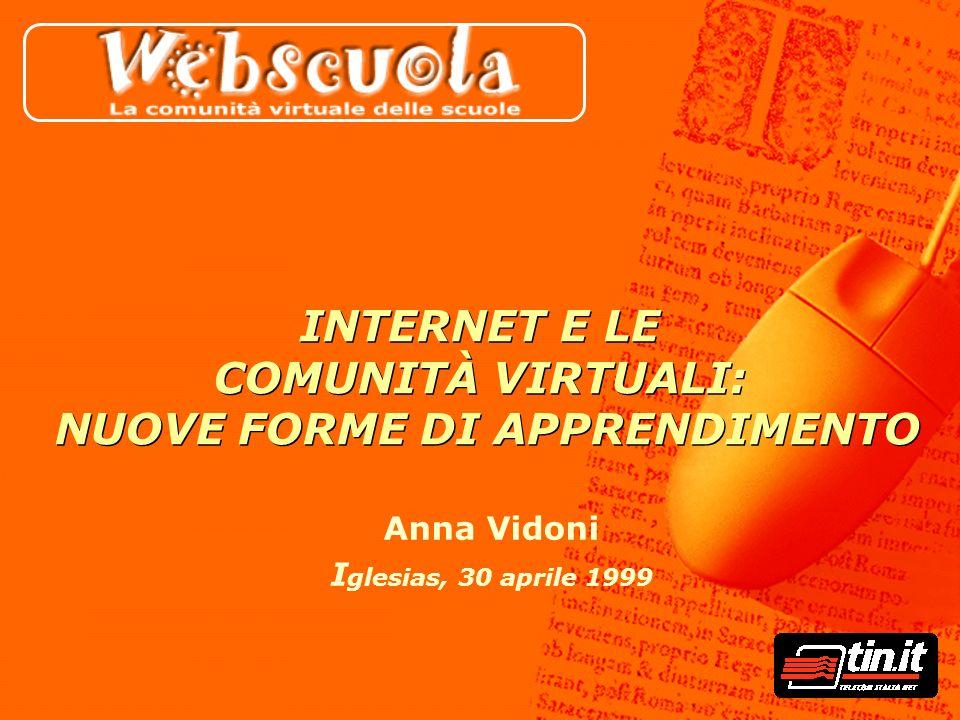 Anna Vidoni I glesias, 30 aprile 1999 INTERNET E LE COMUNITÀ VIRTUALI: NUOVE FORME DI APPRENDIMENTO