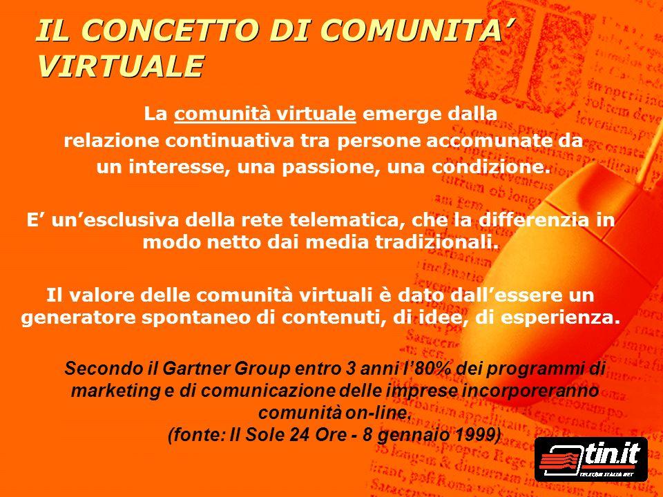 IL CONCETTO DI COMUNITA' VIRTUALE La comunità virtuale emerge dalla relazione continuativa tra persone accomunate da un interesse, una passione, una c