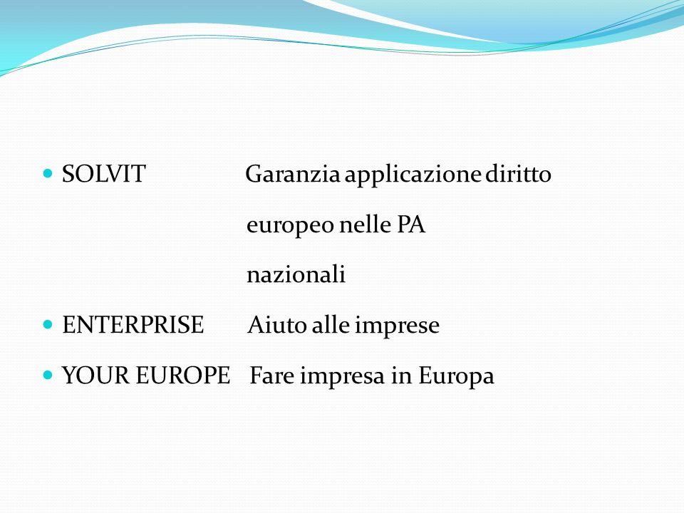 SOLVIT Garanzia applicazione diritto europeo nelle PA nazionali ENTERPRISE Aiuto alle imprese YOUR EUROPE Fare impresa in Europa