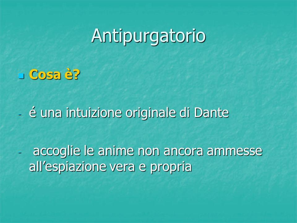 Antipurgatorio Cosa è? Cosa è? - é una intuizione originale di Dante - accoglie le anime non ancora ammesse all'espiazione vera e propria