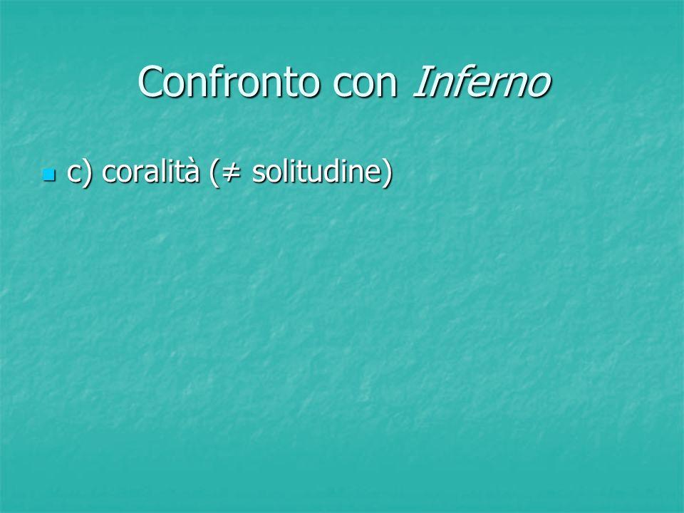 Confronto con Inferno c) coralità (≠ solitudine) c) coralità (≠ solitudine)