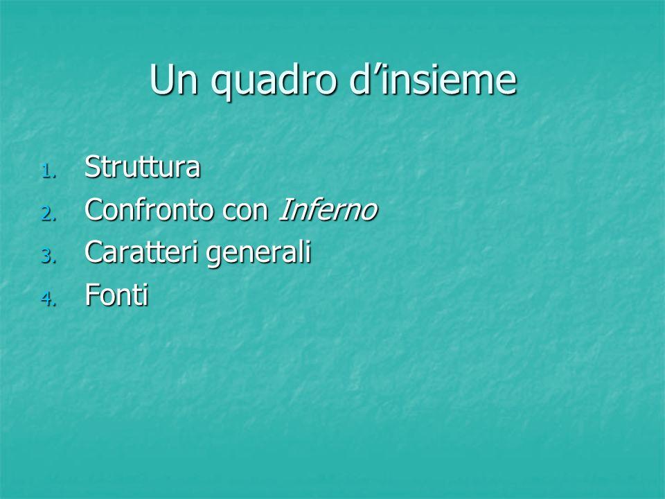 Un quadro d'insieme 1. Struttura 2. Confronto con Inferno 3. Caratteri generali 4. Fonti