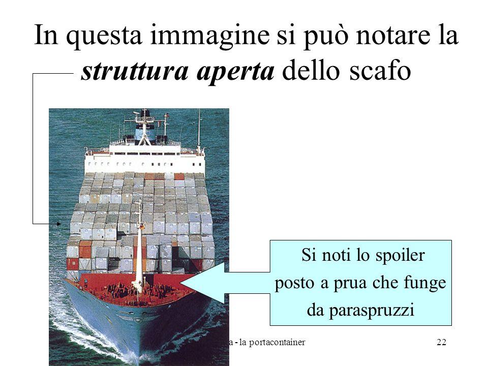 prof. A.Vega - la portacontainer22 In questa immagine si può notare la struttura aperta dello scafo Si noti lo spoiler posto a prua che funge da paras
