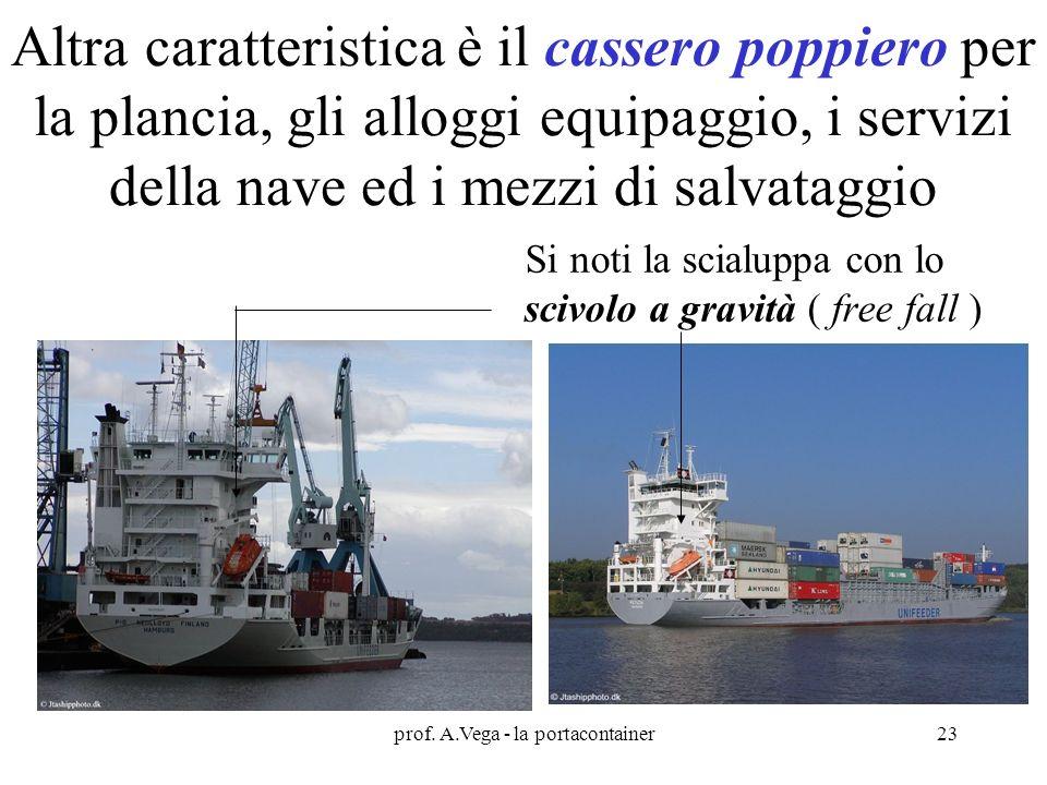 prof. A.Vega - la portacontainer23 Altra caratteristica è il cassero poppiero per la plancia, gli alloggi equipaggio, i servizi della nave ed i mezzi