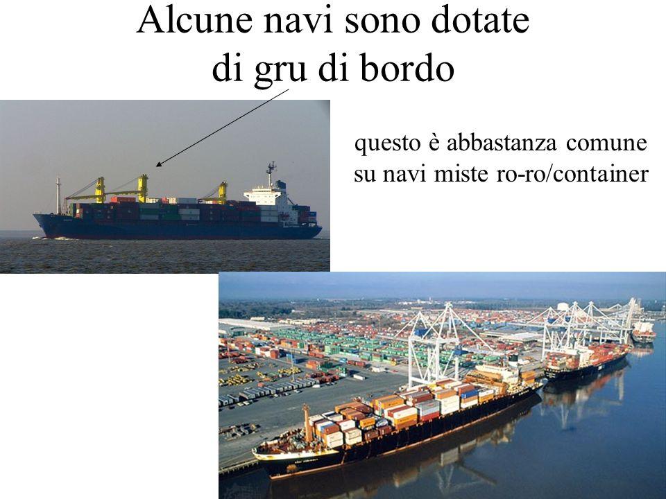 prof. A.Vega - la portacontainer24 Alcune navi sono dotate di gru di bordo questo è abbastanza comune su navi miste ro-ro/container