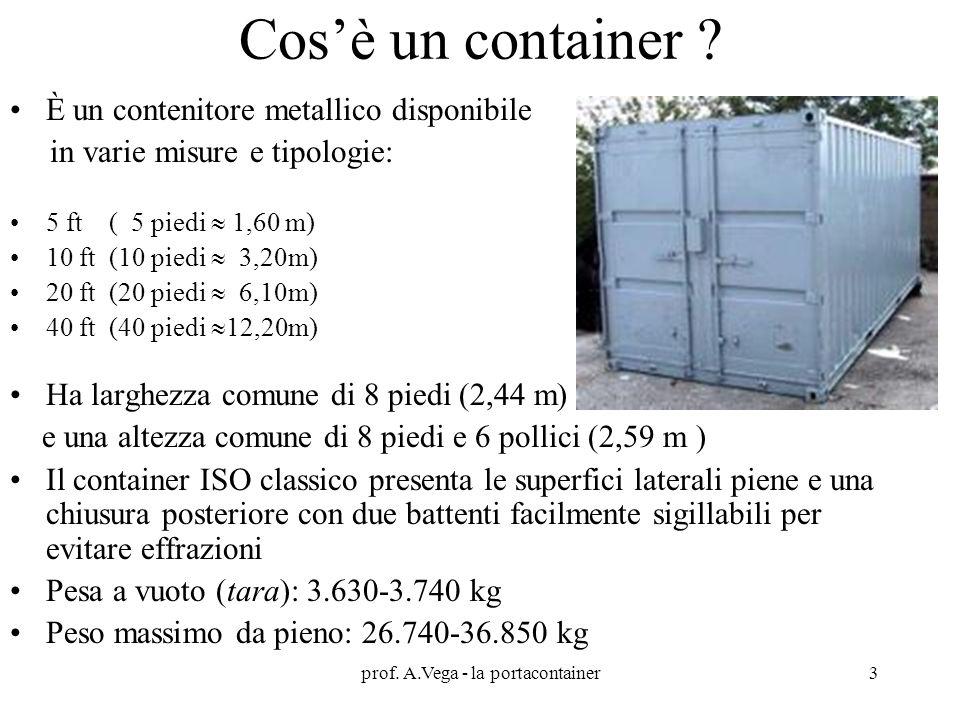prof. A.Vega - la portacontainer3 Cos'è un container ? È un contenitore metallico disponibile in varie misure e tipologie: 5 ft ( 5 piedi  1,60 m) 10