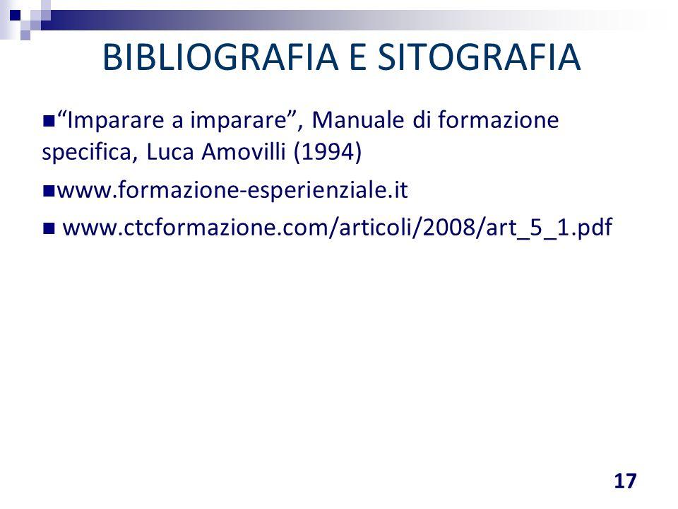 """BIBLIOGRAFIA E SITOGRAFIA 17 """"Imparare a imparare"""", Manuale di formazione specifica, Luca Amovilli (1994) www.formazione-esperienziale.it www.ctcforma"""