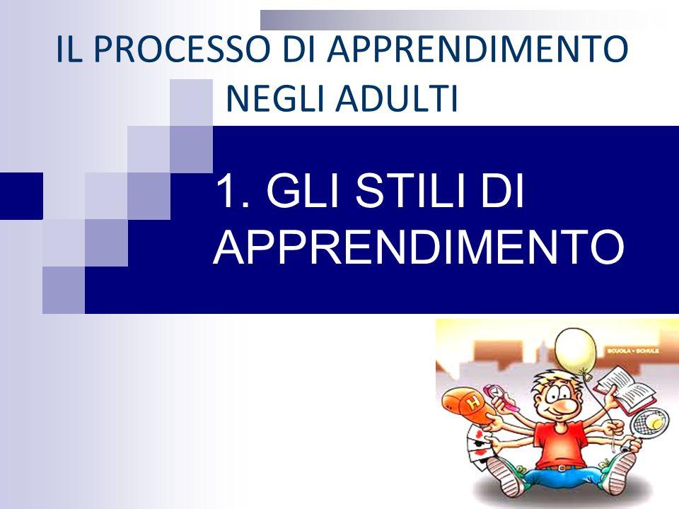 IL PROCESSO DI APPRENDIMENTO NEGLI ADULTI 1. GLI STILI DI APPRENDIMENTO