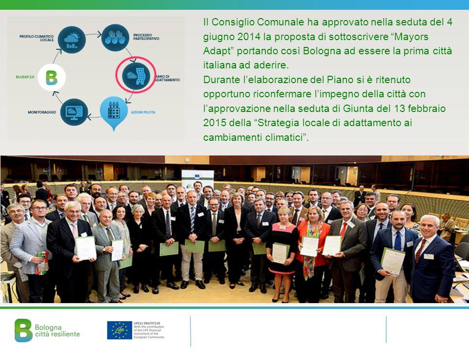 Il Consiglio Comunale ha approvato nella seduta del 4 giugno 2014 la proposta di sottoscrivere Mayors Adapt portando così Bologna ad essere la prima città italiana ad aderire.