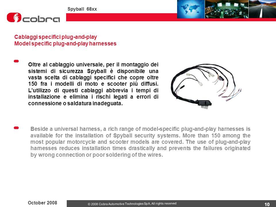10 October 2008 Spyball 68xx © 2008 Cobra Automotive Technologies SpA, All rights reserved Oltre al cablaggio universale, per il montaggio dei sistemi