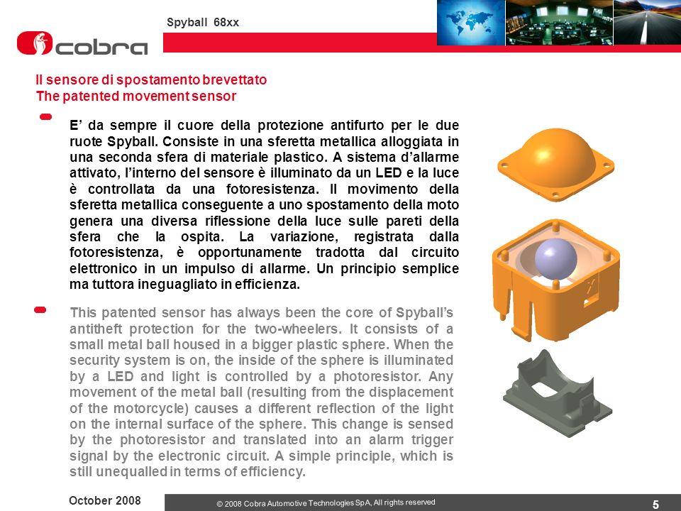 5 October 2008 Spyball 68xx © 2008 Cobra Automotive Technologies SpA, All rights reserved E' da sempre il cuore della protezione antifurto per le due ruote Spyball.