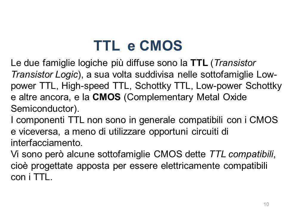 TTL e CMOS 10 Le due famiglie logiche più diffuse sono la TTL (Transistor Transistor Logic), a sua volta suddivisa nelle sottofamiglie Low- power TTL, High-speed TTL, Schottky TTL, Low-power Schottky e altre ancora, e la CMOS (Complementary Metal Oxide Semiconductor).