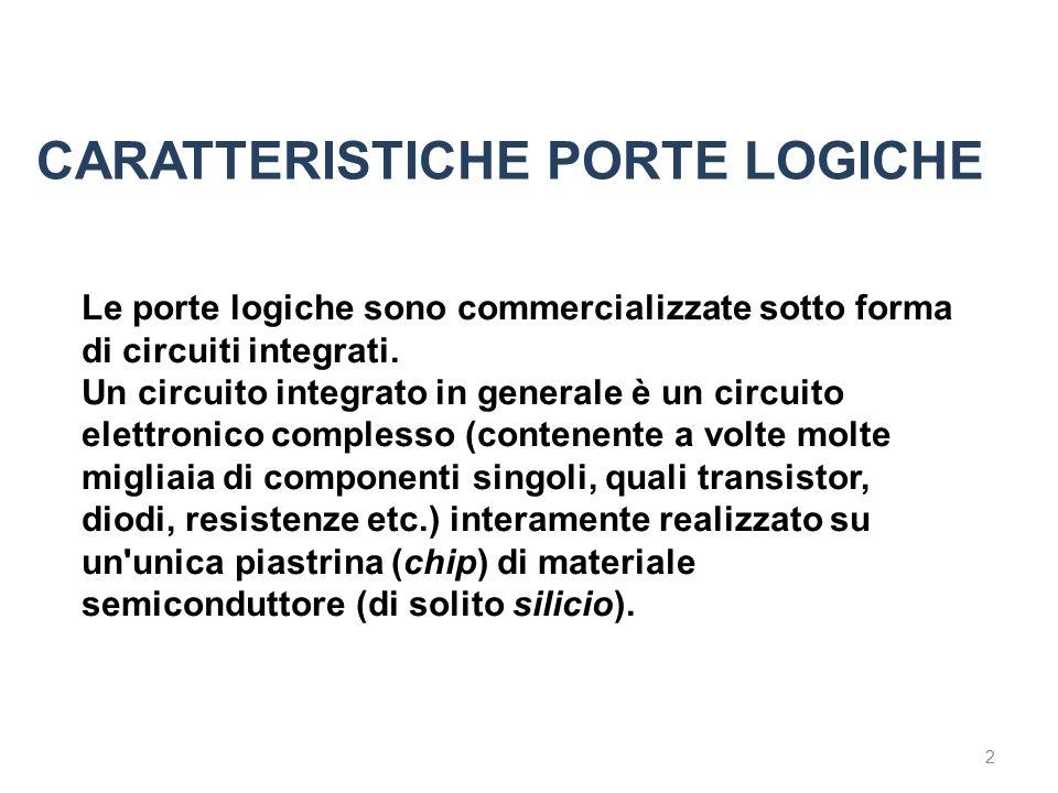 2 Le porte logiche sono commercializzate sotto forma di circuiti integrati. Un circuito integrato in generale è un circuito elettronico complesso (con