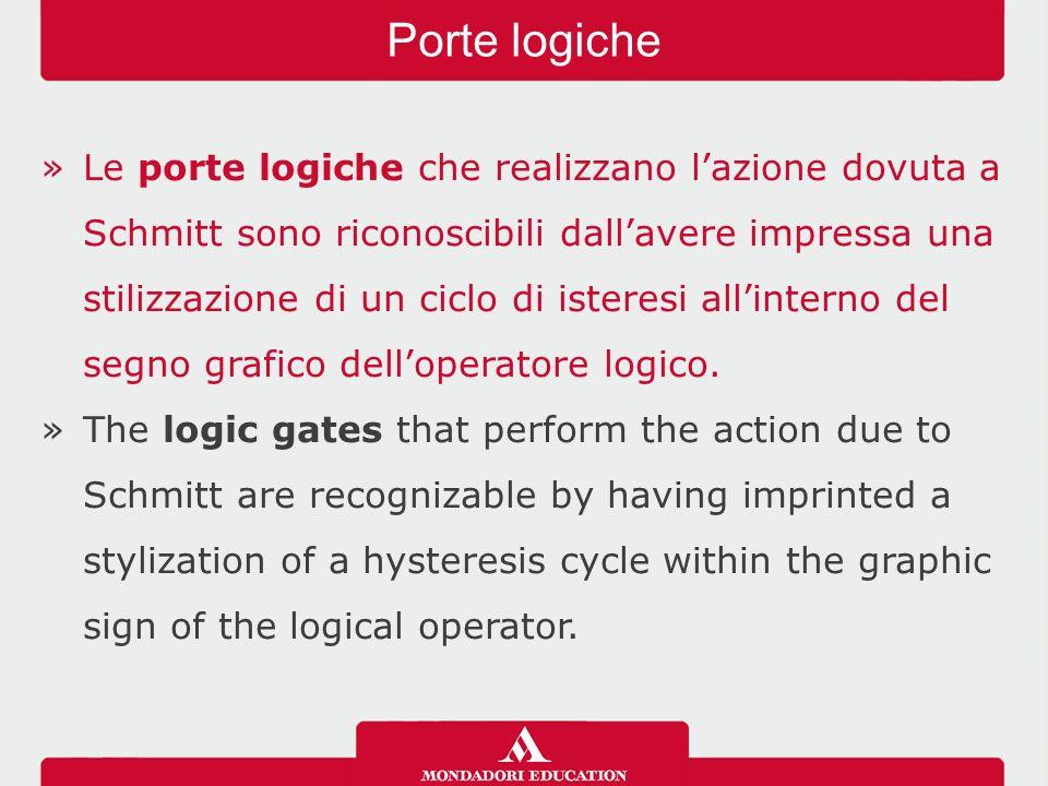 »Le porte logiche che realizzano l'azione dovuta a Schmitt sono riconoscibili dall'avere impressa una stilizzazione di un ciclo di isteresi all'interno del segno grafico dell'operatore logico.
