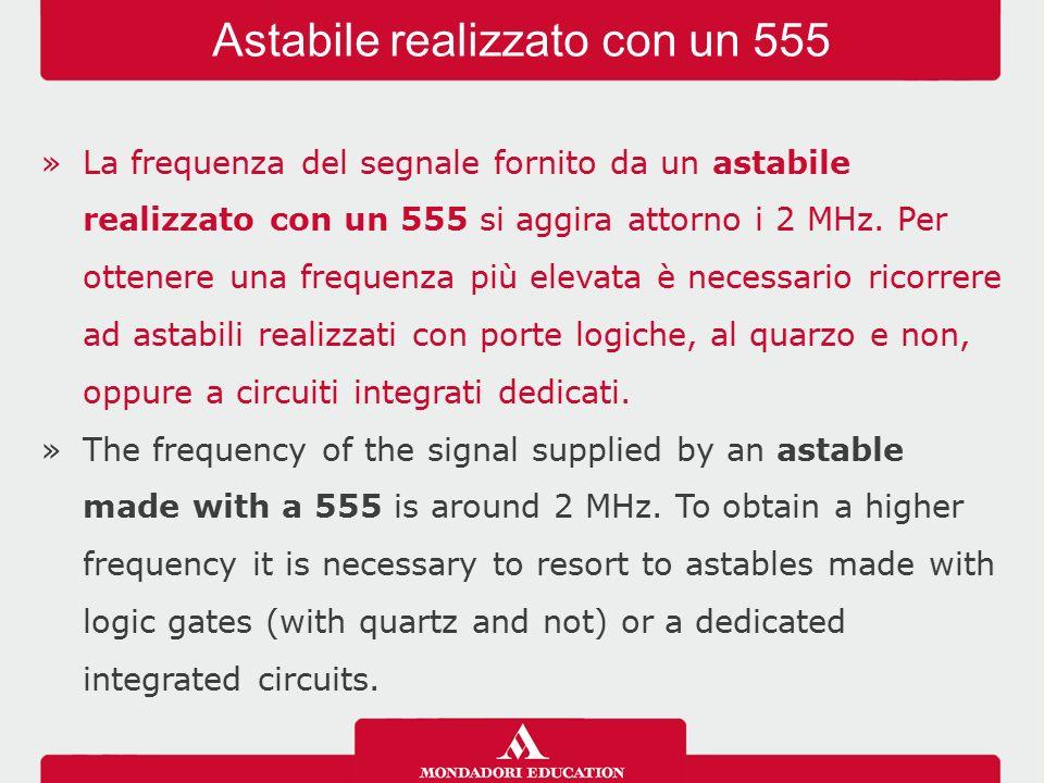 »La frequenza del segnale fornito da un astabile realizzato con un 555 si aggira attorno i 2 MHz.