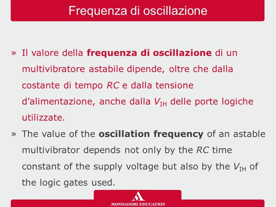 »Il valore della frequenza di oscillazione di un multivibratore astabile dipende, oltre che dalla costante di tempo RC e dalla tensione d'alimentazione, anche dalla V IH delle porte logiche utilizzate.