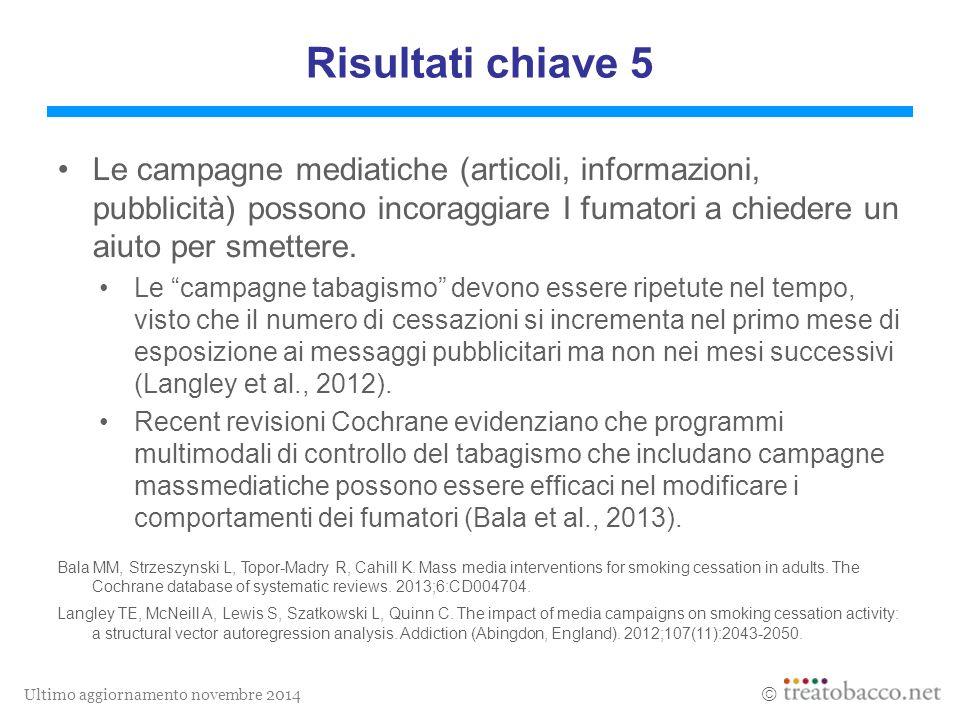 Ultimo aggiornamento novembre 2014  Risultati chiave 5 Le campagne mediatiche (articoli, informazioni, pubblicità) possono incoraggiare I fumatori a chiedere un aiuto per smettere.