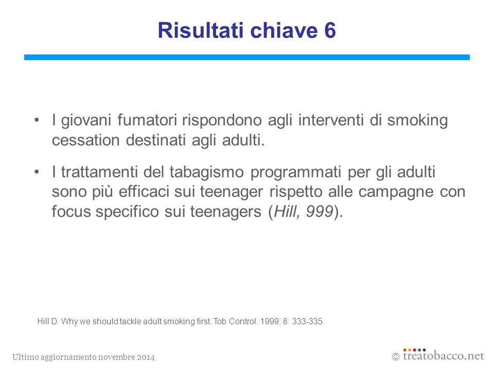 Ultimo aggiornamento novembre 2014  Risultati chiave 6 I giovani fumatori rispondono agli interventi di smoking cessation destinati agli adulti.