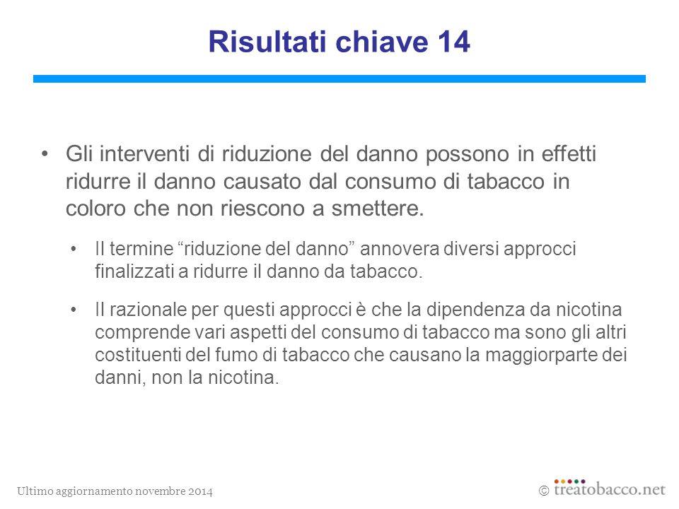 Ultimo aggiornamento novembre 2014  Gli interventi di riduzione del danno possono in effetti ridurre il danno causato dal consumo di tabacco in coloro che non riescono a smettere.