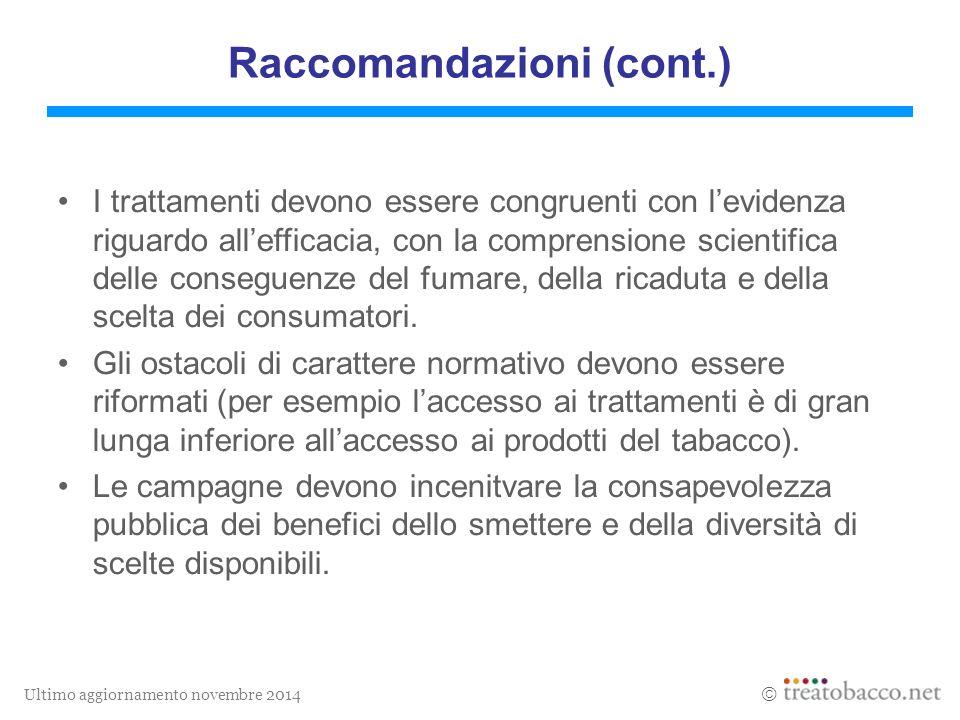 Ultimo aggiornamento novembre 2014  I trattamenti devono essere congruenti con l'evidenza riguardo all'efficacia, con la comprensione scientifica delle conseguenze del fumare, della ricaduta e della scelta dei consumatori.