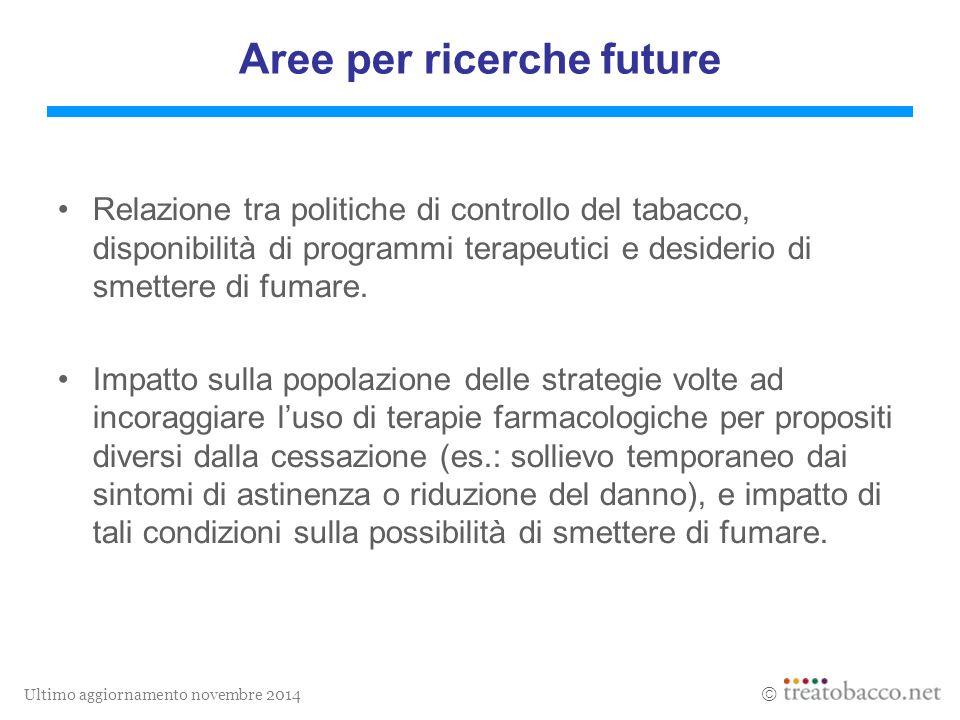 Ultimo aggiornamento novembre 2014  Aree per ricerche future Relazione tra politiche di controllo del tabacco, disponibilità di programmi terapeutici e desiderio di smettere di fumare.