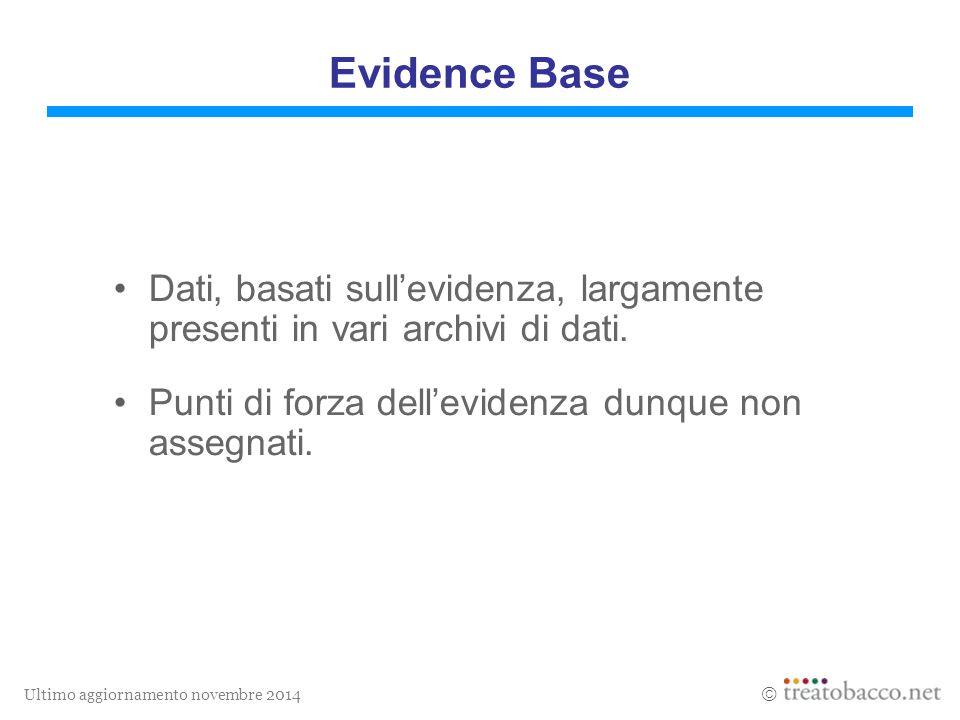 Ultimo aggiornamento novembre 2014  Evidence Base Dati, basati sull'evidenza, largamente presenti in vari archivi di dati.
