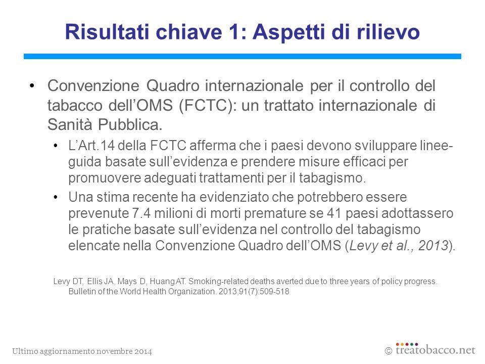 Ultimo aggiornamento novembre 2014  Risultati chiave 1: Aspetti di rilievo Convenzione Quadro internazionale per il controllo del tabacco dell'OMS (FCTC): un trattato internazionale di Sanità Pubblica.