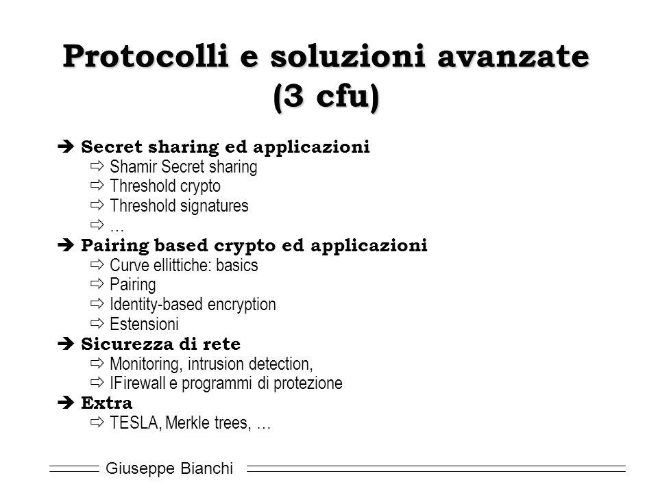 Giuseppe Bianchi Protocolli e soluzioni avanzate (3 cfu)  Secret sharing ed applicazioni  Shamir Secret sharing  Threshold crypto  Threshold signa