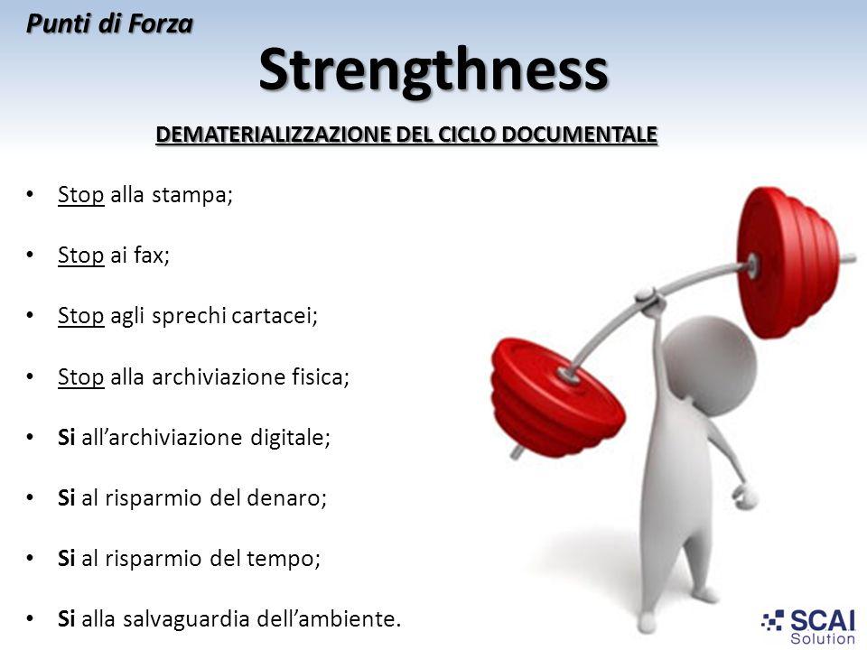 Strengthness DEMATERIALIZZAZIONE DEL CICLO DOCUMENTALE Stop alla stampa; Stop ai fax; Stop agli sprechi cartacei; Stop alla archiviazione fisica; Si a