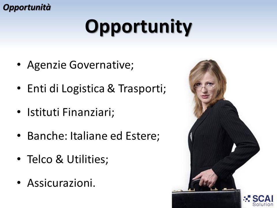 Opportunity Opportunità Agenzie Governative; Enti di Logistica & Trasporti; Istituti Finanziari; Banche: Italiane ed Estere; Telco & Utilities; Assicu