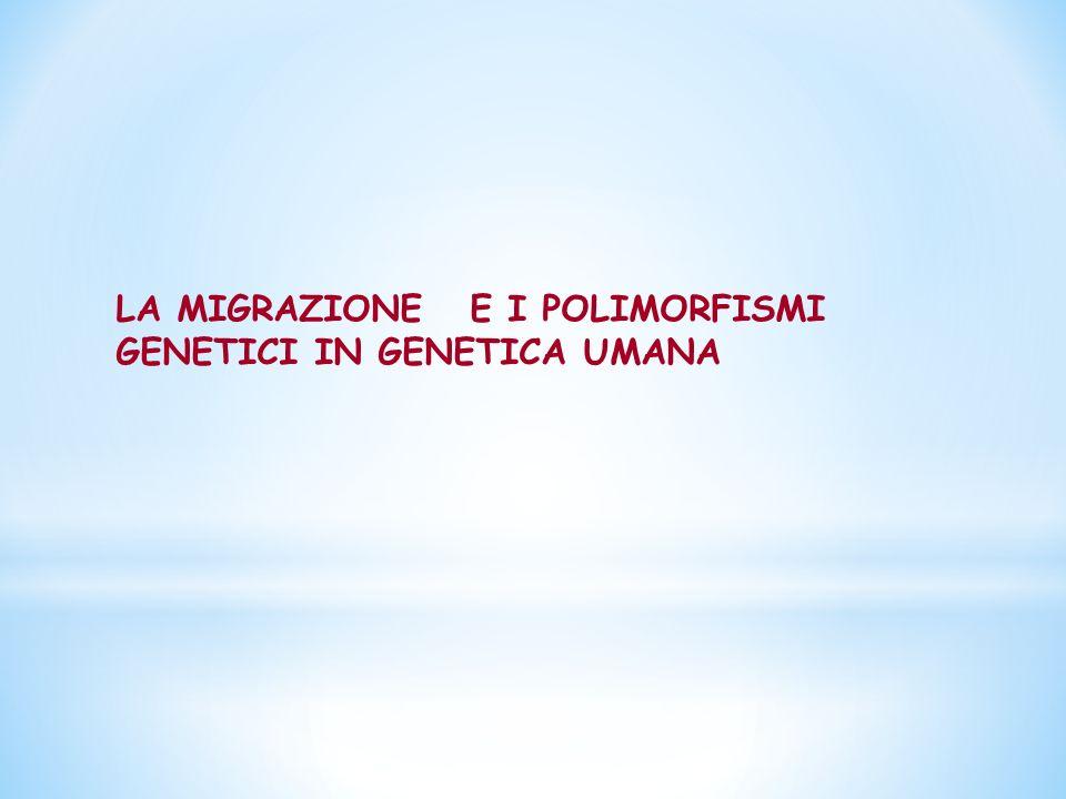 LA MIGRAZIONE E I POLIMORFISMI GENETICI IN GENETICA UMANA