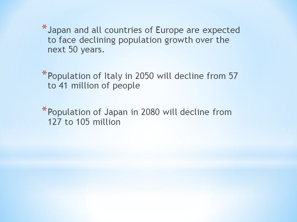 * Japan and all countries of Europe are expected to face declining population growth over the next 50 years.