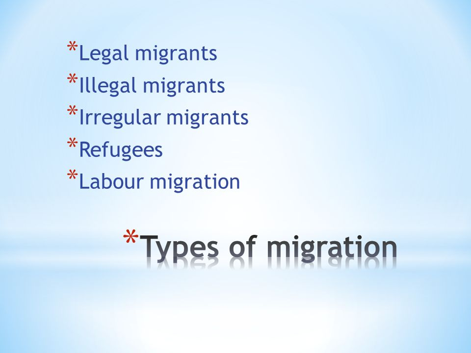 * Legal migrants * Illegal migrants * Irregular migrants * Refugees * Labour migration