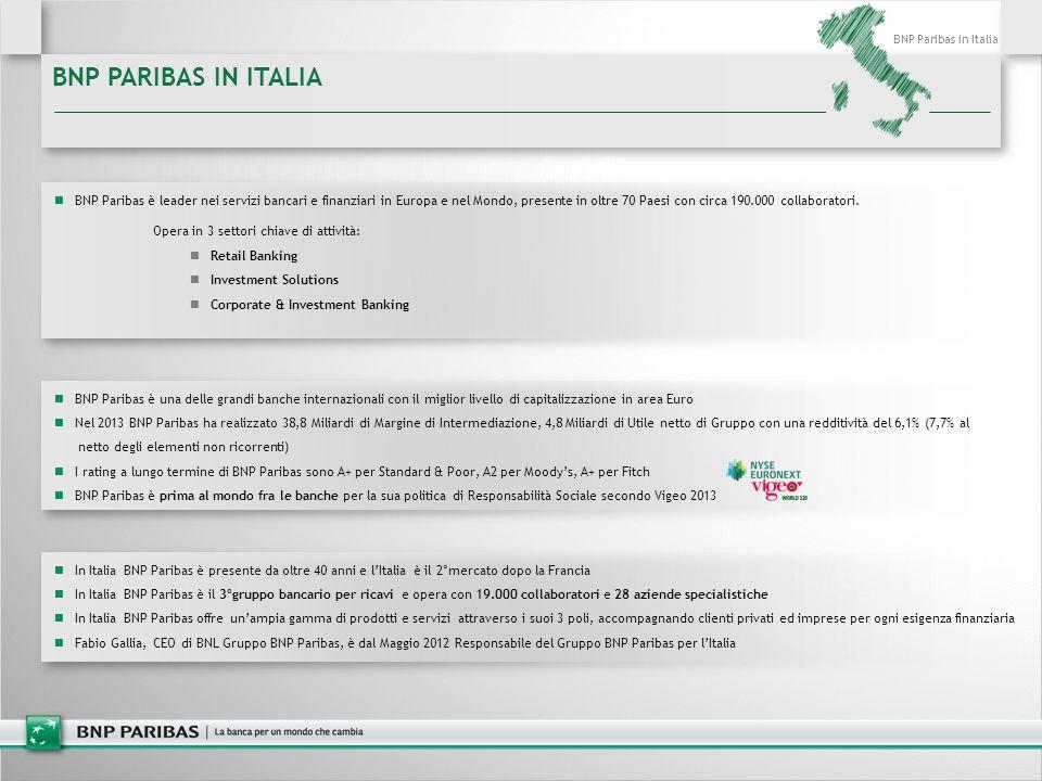 BNP PARIBAS IN ITALIA In Italia BNP Paribas è presente da oltre 40 anni e l'Italia è il 2°mercato dopo la Francia In Italia BNP Paribas è il 3°gruppo