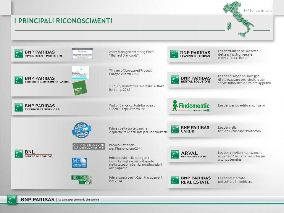 BNP Paribas in Italia I PRINCIPALI RICONOSCIMENTI Prima scelta tra le banche e quarta tra le aziende per i neolaureati Premio Nazionale per l'innovazi