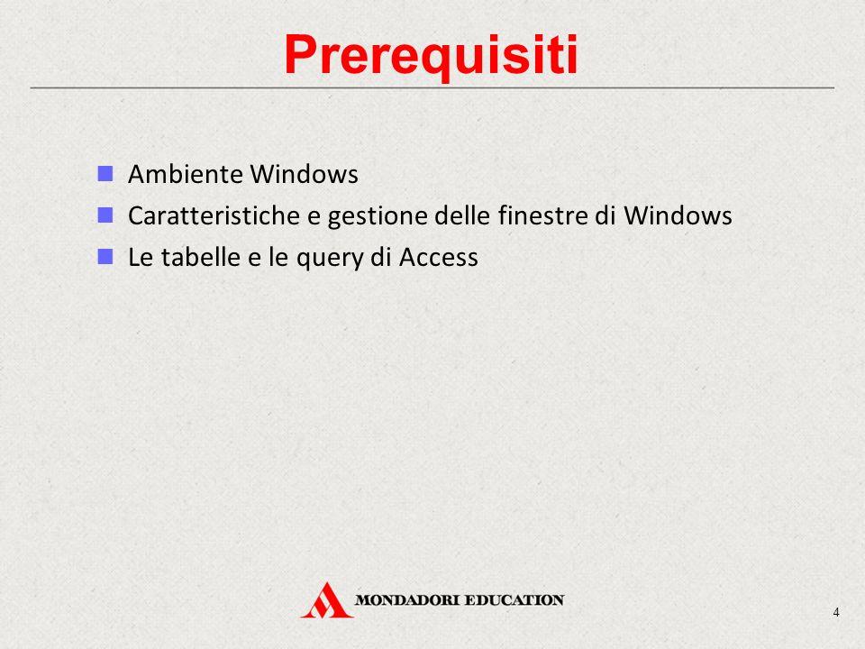 4 Prerequisiti Ambiente Windows Caratteristiche e gestione delle finestre di Windows Le tabelle e le query di Access