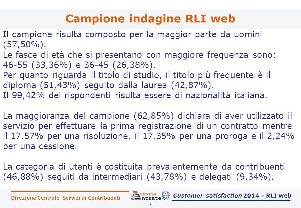 Direzione Centrale Servizi ai Contribuenti Campione indagine RLI web 2 Il campione risulta composto per la maggior parte da uomini (57,50%). Le fasce