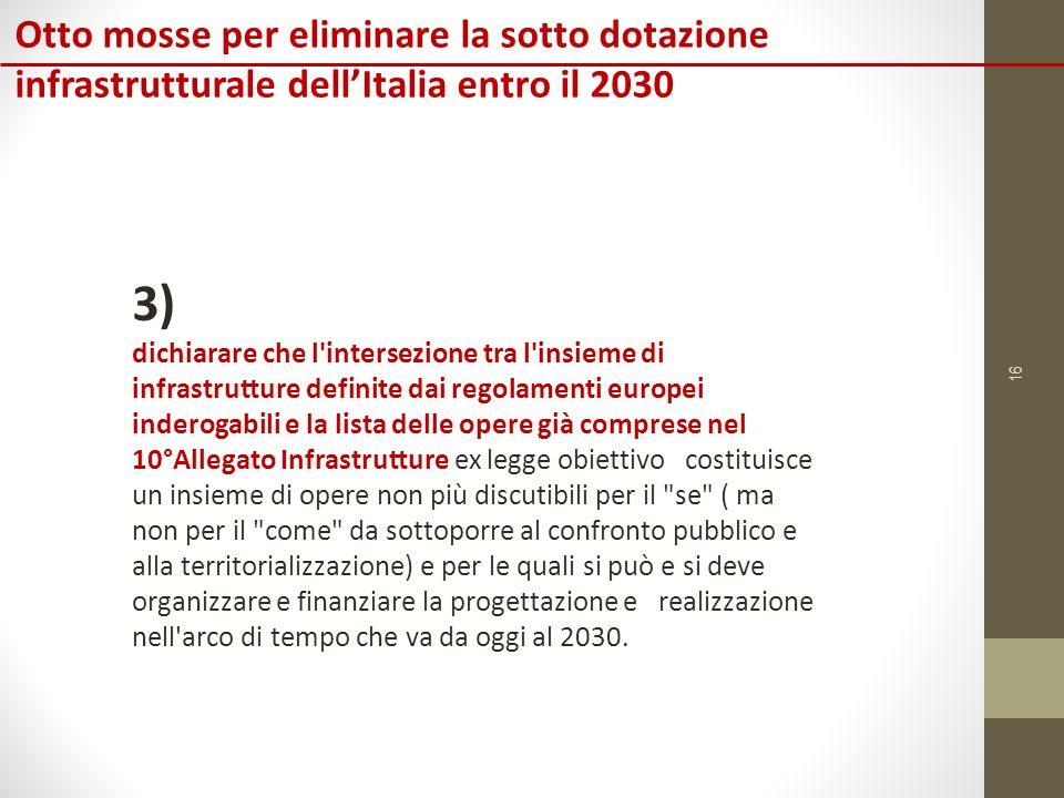 16 Otto mosse per eliminare la sotto dotazione infrastrutturale dell'Italia entro il 2030 3) dichiarare che l intersezione tra l insieme di infrastrutture definite dai regolamenti europei inderogabili e la lista delle opere già comprese nel 10°Allegato Infrastrutture ex legge obiettivo costituisce un insieme di opere non più discutibili per il se ( ma non per il come da sottoporre al confronto pubblico e alla territorializzazione) e per le quali si può e si deve organizzare e finanziare la progettazione e realizzazione nell arco di tempo che va da oggi al 2030.
